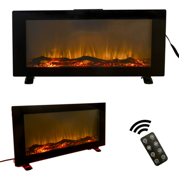 42 Inches Wall-Mounted Electronic Fireplace,10 Colors Backlight,CSA Certification,Black