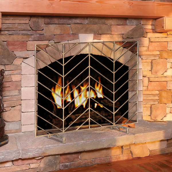 Artisasset Single Screen Gold Vintage Old M Pattern Grill Living Room Decoration Iron Fireplace Screen