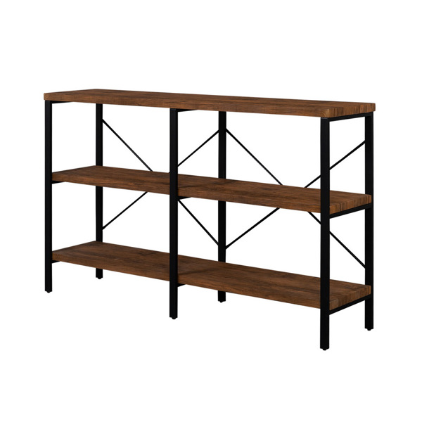 3-Tier Console Sofa Table, Industrial Foyer Table for Living Room, Entry Way, Hallway,Rustic Brown
