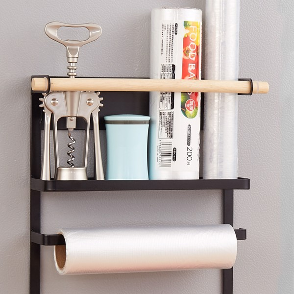 Magnetic refrigerator storage rack, anti-rust kitchen storage rack, spice rack, paper towel rack, with hook, strong suction