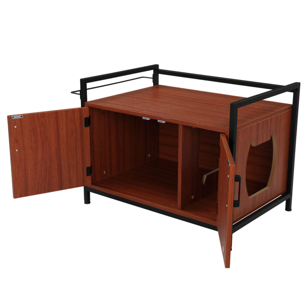 FCH Cat Litter Box Enclosure Multi-functional Two Doors Cat House Decorative Cat House Side Table Furniture Privacy Cat Hidden Washroom Cat Home Indoor Red Brown