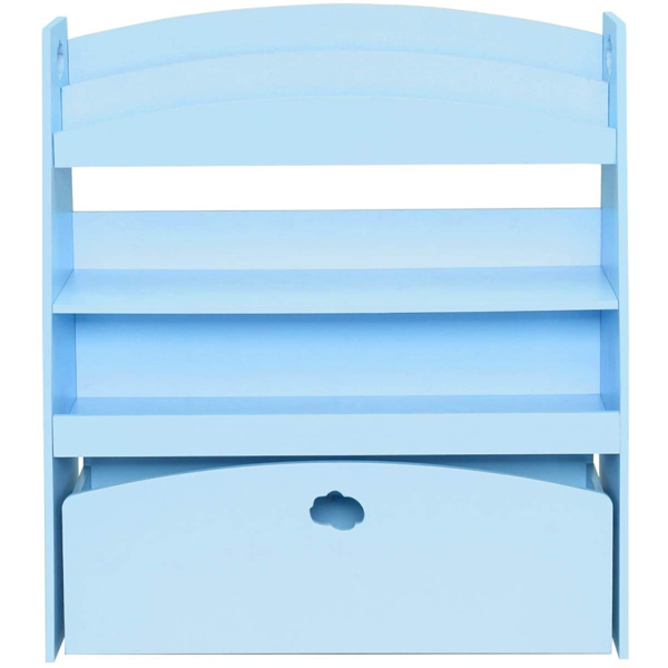 Kids Toy Storage and Bookshelf, 4 Shelves and One Large Rolling Bin w/Wheels, Children's Toy and Book Organizer Cabinet Unit for Playroom, Reading Nook, Toddler's Room, Nursery, Blue