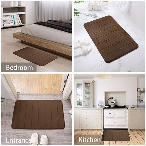 Memory Foam Bath Mat Rug for Bathroom Non Slip Upgrade Thicken Soft and Water Absorbent Bath Mats for Bathroom, Shaggy Bath Mat Machine Washable Bathroom Entryway and Shower Floor 50*80cm red