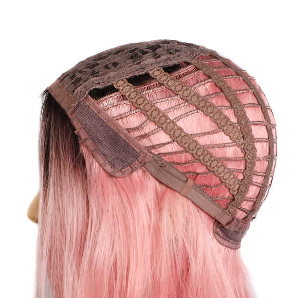 Synthetic Wigs Ombre Pink Long Wavy Women Heat Resistant Fiber Middle Part Cosplay Wigs 26inch