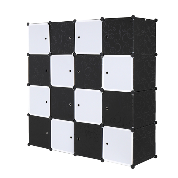 16 Cube Organizer Stackable Plastic Cube Storage Shelves Design Multifunctional Modular Closet Cabinet with Hanging Rod Black and White
