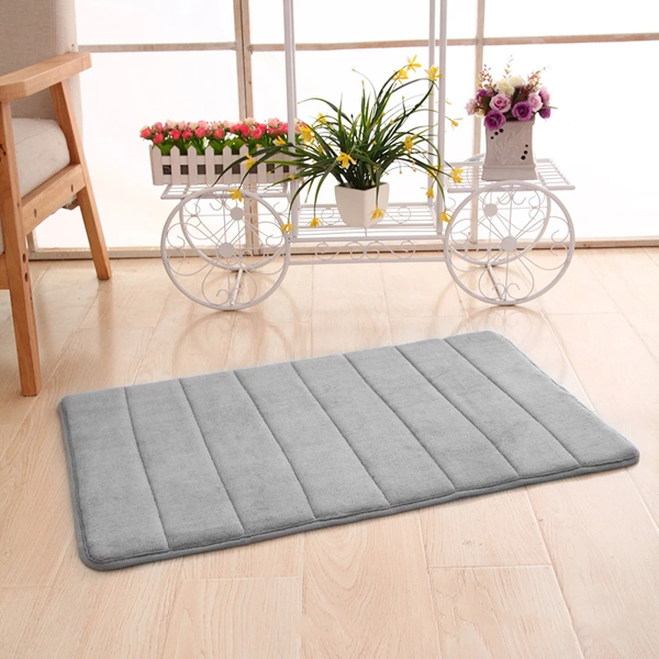 Absorbent Memory Foam Bath Mat, Non Slip and Cozy Microfiber Bathroom Floor Mat, Thick and Quick Drying 40*60cm light blue