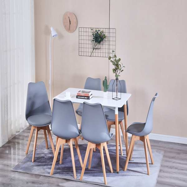 EDLMH Set of 4, ABS PP Nordic Dining Chair with Beech Wood Legs for Dining Room, Living Room, Office, Bedroom, Black