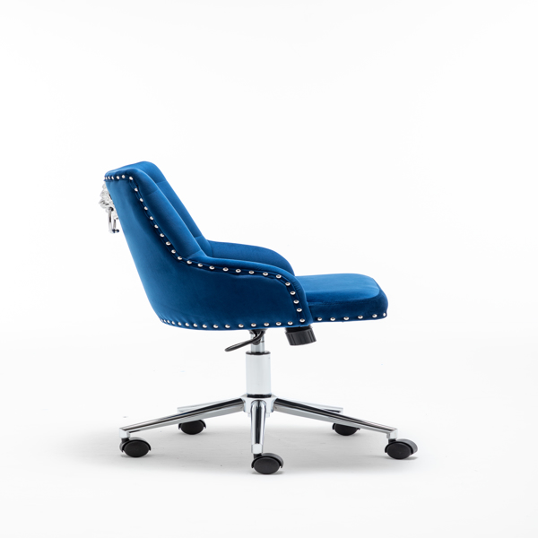 Furniture Home High Back Office Chair with pull ring, Modern Design Velvet Desk Task Chair with Arms in Study Bedroom (Blue)