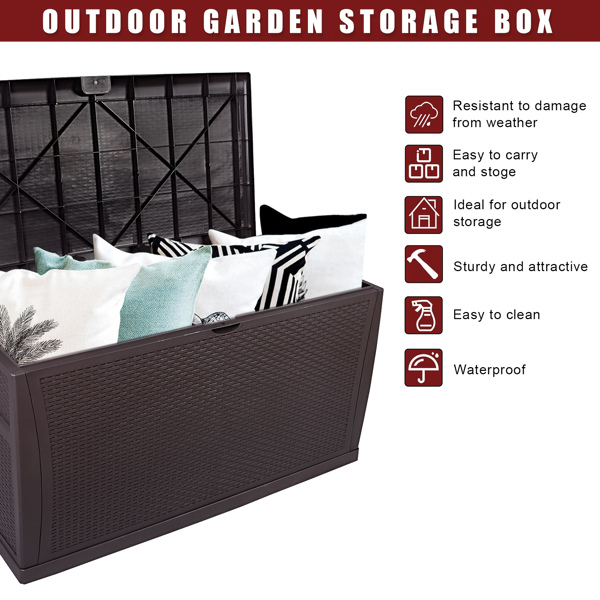 120gal 460L Outdoor Garden Plastic Storage Deck Box Chest Tools Cushions Toys Lockable Seat Waterproof
