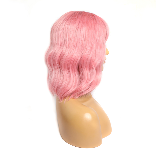"""Pastel Wavy Wig With Air Bangs Women's Short Bob Purple Pink Wig Curly Wavy Shoulder Length Pastel Bob Synthetic Cosplay Wig for Girl Colorful Costume Wigs(12"""", Purple Pink)"""