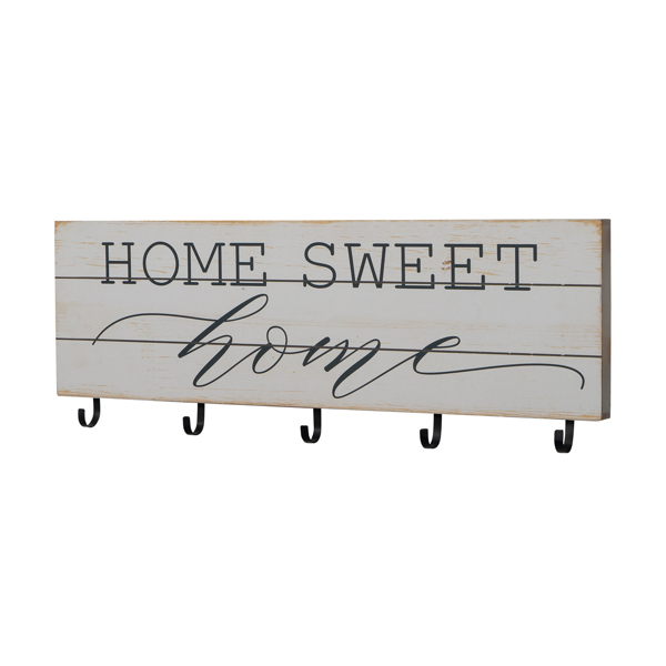 Rustic Wood Plank Look Home Sweet Home with 5 Key Hangers