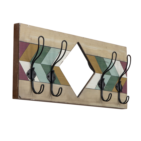 Rustic Wood Plank Look Wall Mounted with 4 Key Hangers