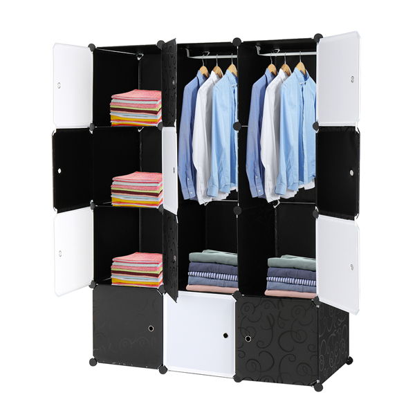 12 Cube Organizer Stackable Plastic Cube Storage Shelves Design Multifunctional Modular Closet Cabinet with Hanging Rod Black and White
