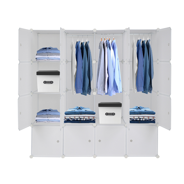 16 Cube Organizer Stackable Plastic Cube Storage Shelves Design Multifunctional Modular Closet Cabinet with Hanging Rod White