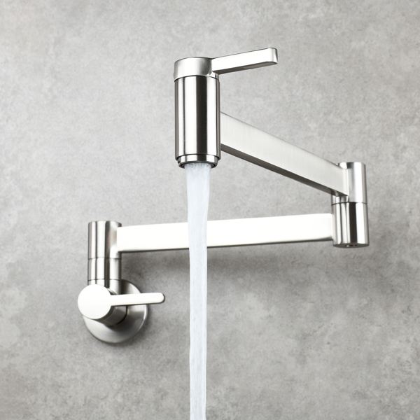 Brass Wall Mounted Foldable Faucet Double Handles Fuacet Cold Water Kitchen Tap Brushed Nickel