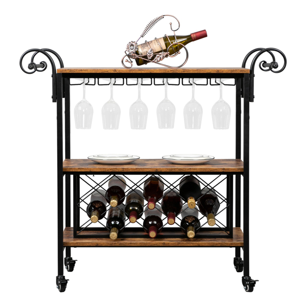 HODELY Two-Layer Double-Armrest Diamond Wine Bottle Layer 1.5mm Thick Fire Pattern Density Board Movable Iron Wood Wine Cart