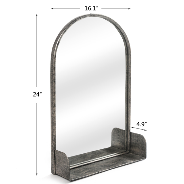 Artisasset 24 Inch High Bronze Silver Oval Indoor Wrought Iron Wall Flat Mirror With Storage Layer