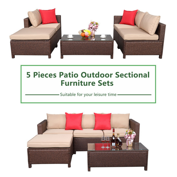 Oshion 5-Piece Set Rattan Sofa Hanging Legs 2 Corners  1 Sofa Without Armrests  1 Foot Drag  1 Rectangular Coffee Table Brown   Package-2 (Total Three Boxes)