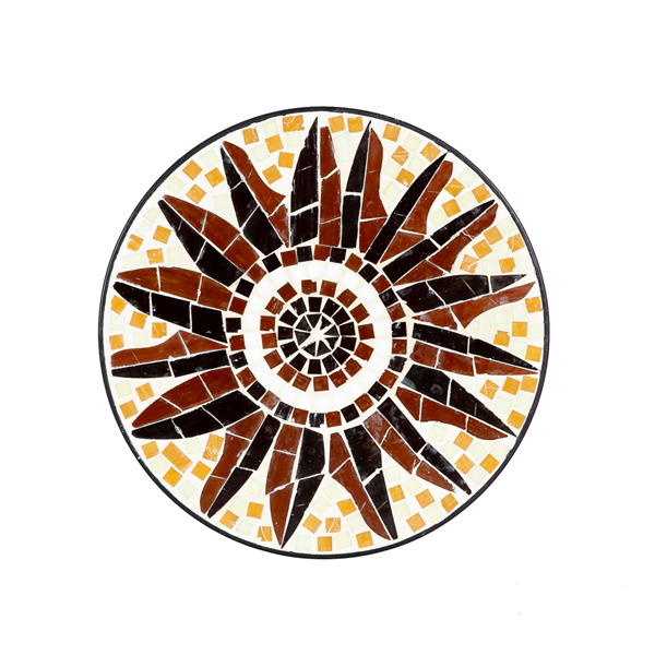 Artisasset Stained Glass Autumn Leaf Shaped Inlaid Adjustable Ottoman Mosaic Bistro Table