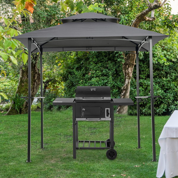 8x5Ft Grill Gazebo Replacement Canopy,Double Tiered BBQ Tent Roof Top Cover,Grey