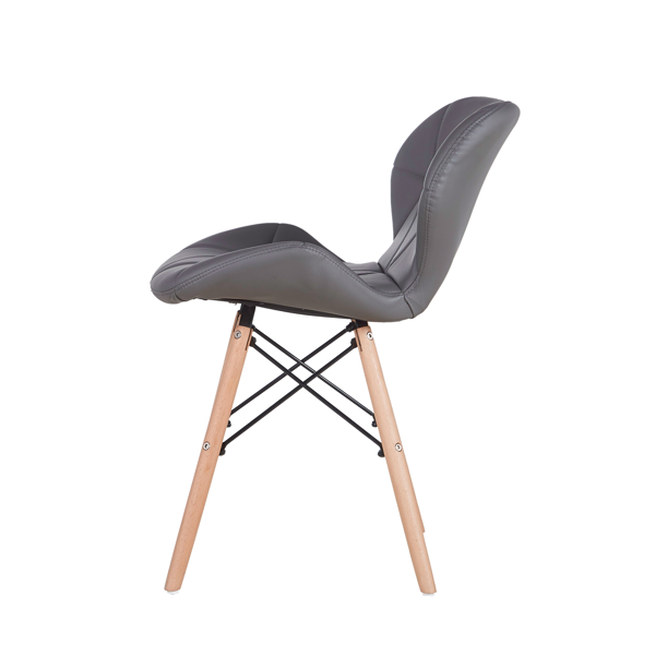 Set of 4 Exquisite Modern Ergonomic Design PU Dining Chair with Natural Beech Wood Legs for Dining Room, Office, Living Room, Kitchen, Gray