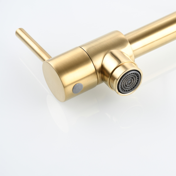 Brass Foldable Kitchen Faucet Rotatable Tap Only for Cold Water Brushed Gold