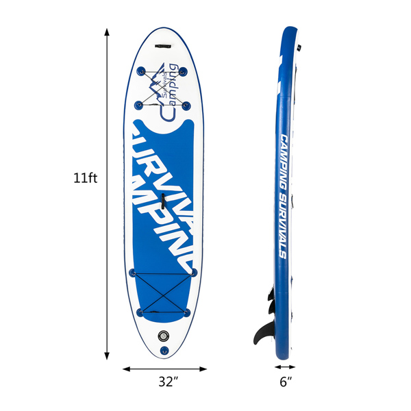 11' Adult Inflatable SUP Stand Up Paddle Board White & Dark Blue & Black