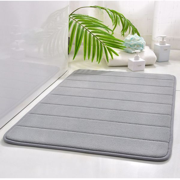 """Memory Foam Bath Mat 16"""" X 24"""" Coral Velvet Super Non-Slip Rapid Water Absorption Soft and Comfortable Easier to Dry Machine Wash Bathroom Mat, Gray 40*60cm"""