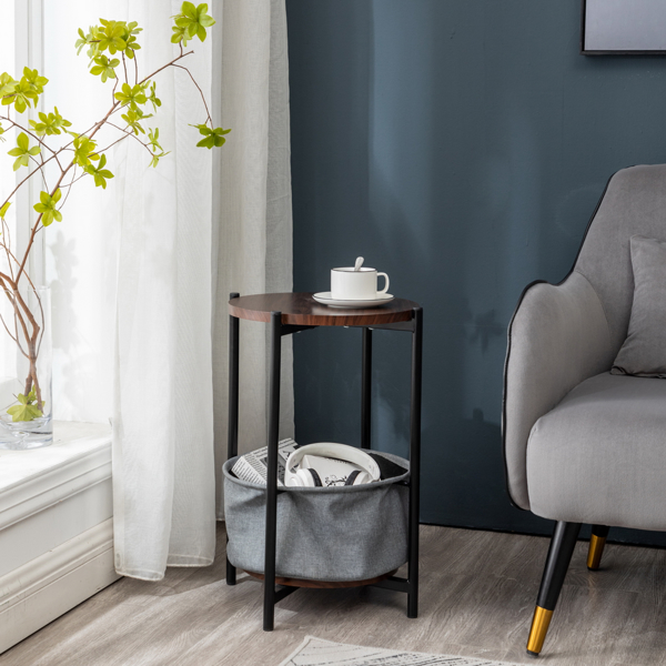 MDF, Double-layer Round Tea Table with Storage, Gray