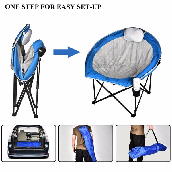 600D PVC folding chair, camping chair, steel frame, 350 lbs capacity, with pillow