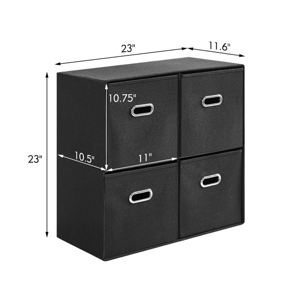 Cube Organizer Shelf with 4 Storage Bins Strong Durable Foldable Shelf Kid Toy Clothes Towels Cubby Bedroom Fabric Shelves and Cubes (Black)