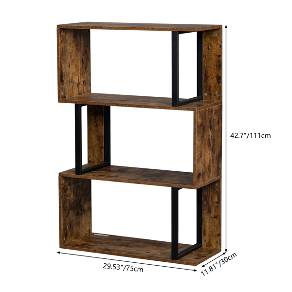 Bookcase and Bookshelf 3 Tier Display Shelf, S-Shaped Z-Shelf Bookshelves, Freestanding Multifunctional Decorative Storage Shelving for Home Office, Vintage Brown Industrial Style