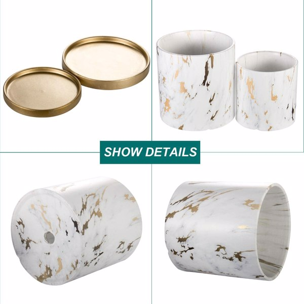 (2 pack) Ceramic flowerpot with drain hole and tray, marble pattern, ceramic flowerpot with drain hole (not contain plants)