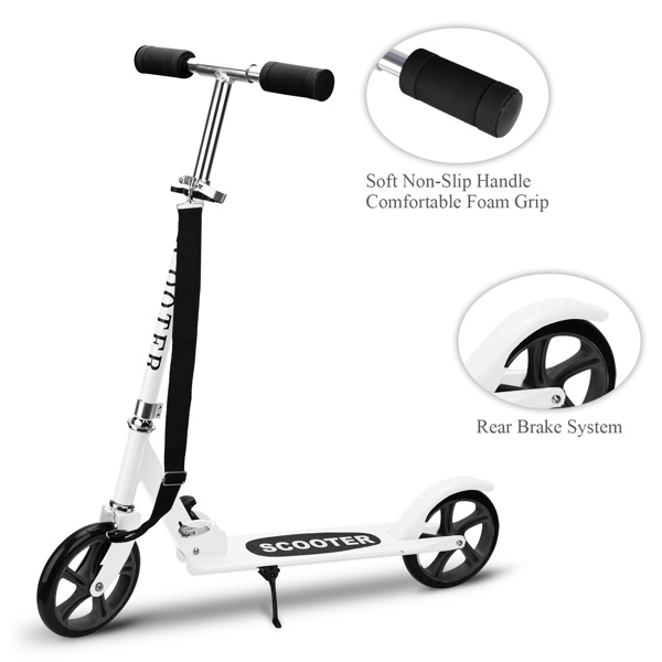 Kick Scooters with 200mm Large Wheels, Scooter for Kids 10 Years and up/Adults   Adjustable Height   Shoulder Strap, Smooth Ride Commuter Portable Scooters Best Gift for Teen White