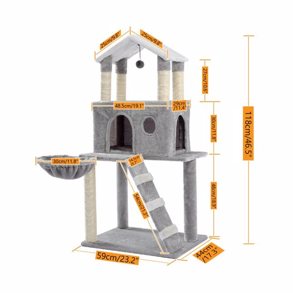 Multi-Level Cat Tree Tower Play House with Sisal Scratching Posts, Deluxe Condo and Plush Basket Bed Hammock Replaceable Dangling Ball