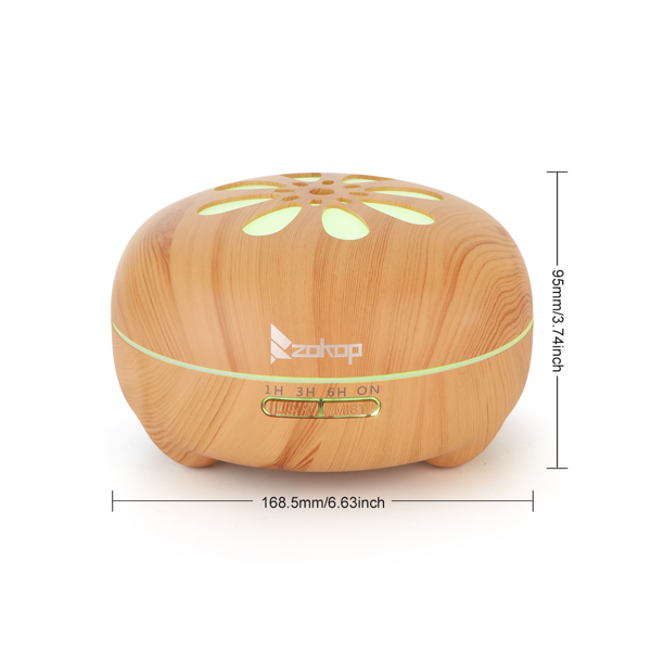 Zokop 2135yk 110V 14W 550ml Aroma Diffuser Brown Plastic with White Remote Controller Colorful Light