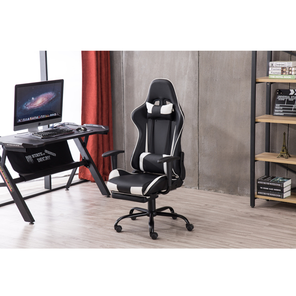 High Back Swivel Chair Racing Gaming Chair Office Chair with Footrest Tier Black & White