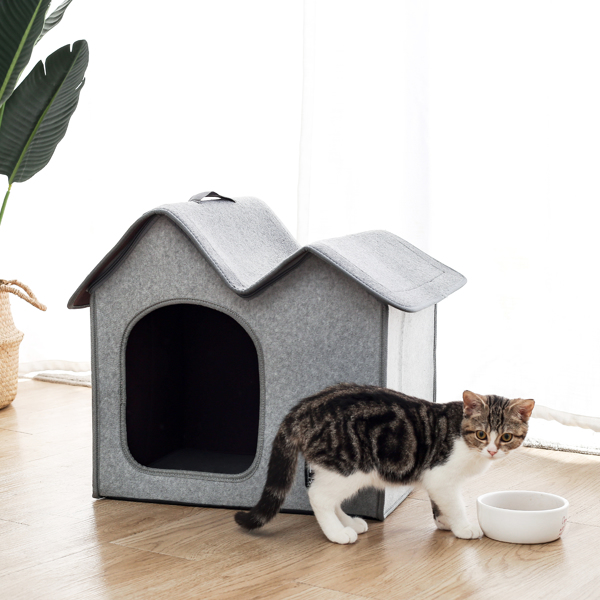 Pet Bed Dog Bed Cat Bed Double Roofs Cat Cave for Cats & Dogs Foldable Washable Indoor/Outdoor Gray