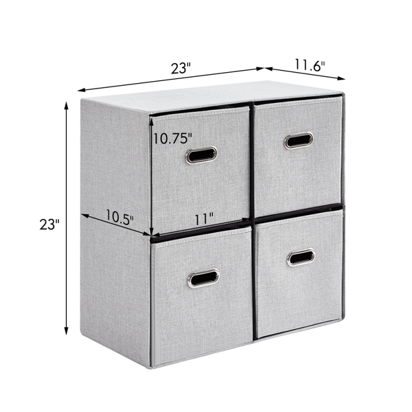 Cube Organizer Shelf with 4 Storage Bins Strong Durable Foldable Shelf Kid Toy Clothes Towels Cubby Bedroom Fabric Shelves and Cubes (Grey)