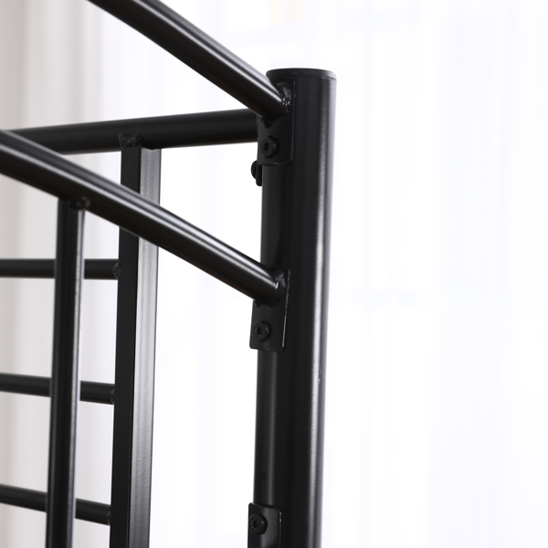 Double Round Column Head and Tail Curved Vertical Pipe Decorative Horizontal Pipe Side Guardrail 3FT Black Iron Bed