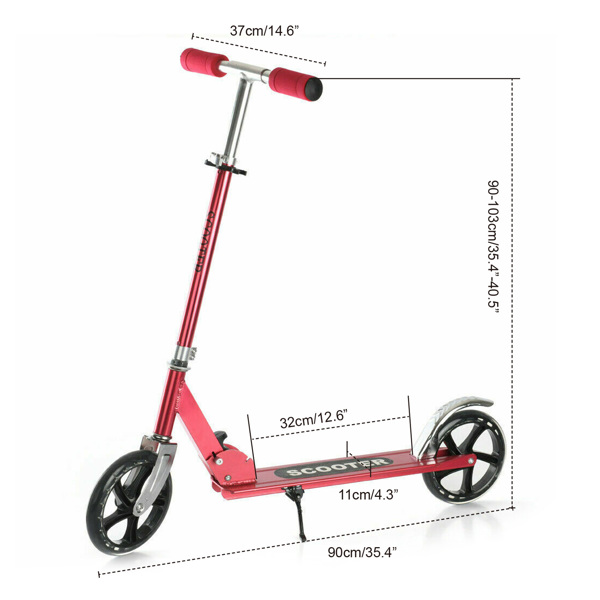Kick Scooters with 200mm Large Wheels, Scooter for Kids 10 Years and up/Adults   Adjustable Height   Shoulder Strap, Smooth Ride Commuter Portable Scooters Best Gift for Teen Red