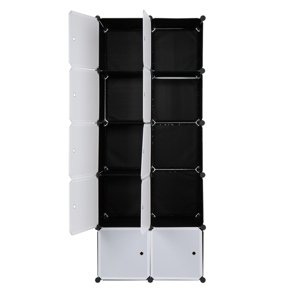 10 Cube Organizer Stackable Plastic Cube Storage Shelves Design Multifunctional Modular Closet Cabinet with Hanging Rod White Doors and Black Panels