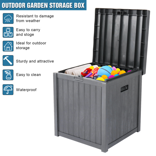 51gal 195L Outdoor Garden Plastic Storage Deck Box Chest Tools Cushions Toys Lockable Seat Waterproof