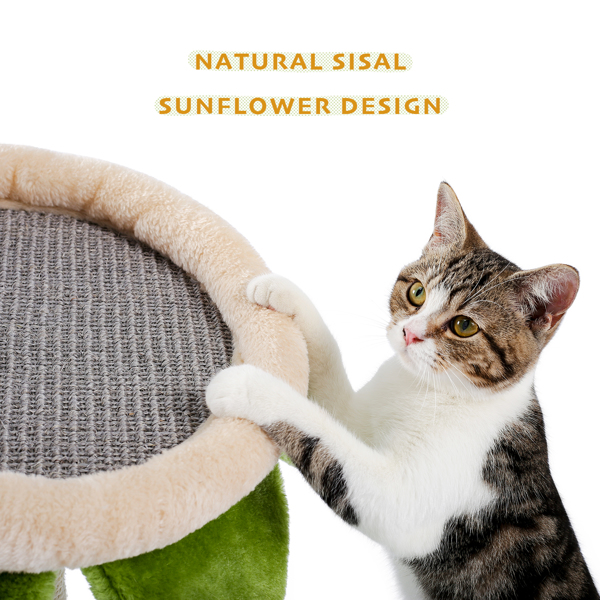 Cat Tree Three-in-one Cat Scratching Post, Sunflower Shape Cat Lounge Bed with Cat Funny Balls for Small to Adult Cats Green