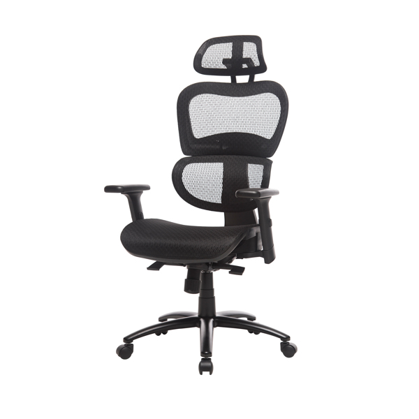 Ergonomic Office Chair Mesh Chair Computer Chair Desk Chair High Back Chair with Adjustable Headrest and Armrest-Black