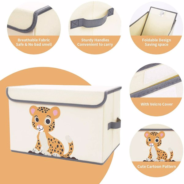 Non woven folding storage box, size 14.76x9.84x9.45 inches, with handle and removable cover