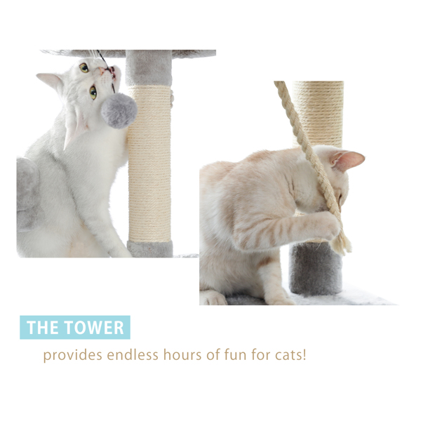 Cat Tree Tall Cat Tower for Indoor Cat 6 Levels Cat Condo House with Hammock, Double Condos, Sisal Covered Cat Scratching Posts and Ladder and Dangling Balls