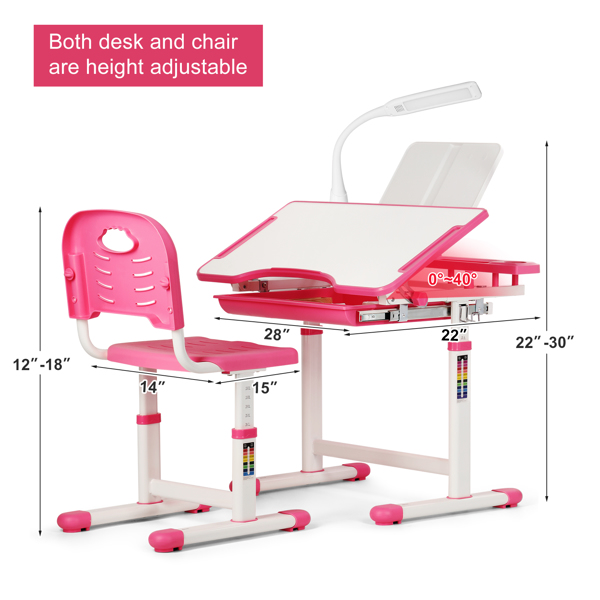 Kids Desk And Chair Set Children Table Storage Lamp