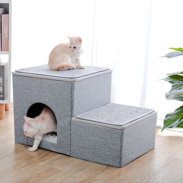 Foldable Pet stairs 2 steps for dogs puppies, Multi-functional Dog stairs for bed or car with kennel & storage box, Useful 2 steps ladder ramp for cats dogs Grey