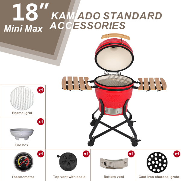 18in Steel Charcoal Grill Red